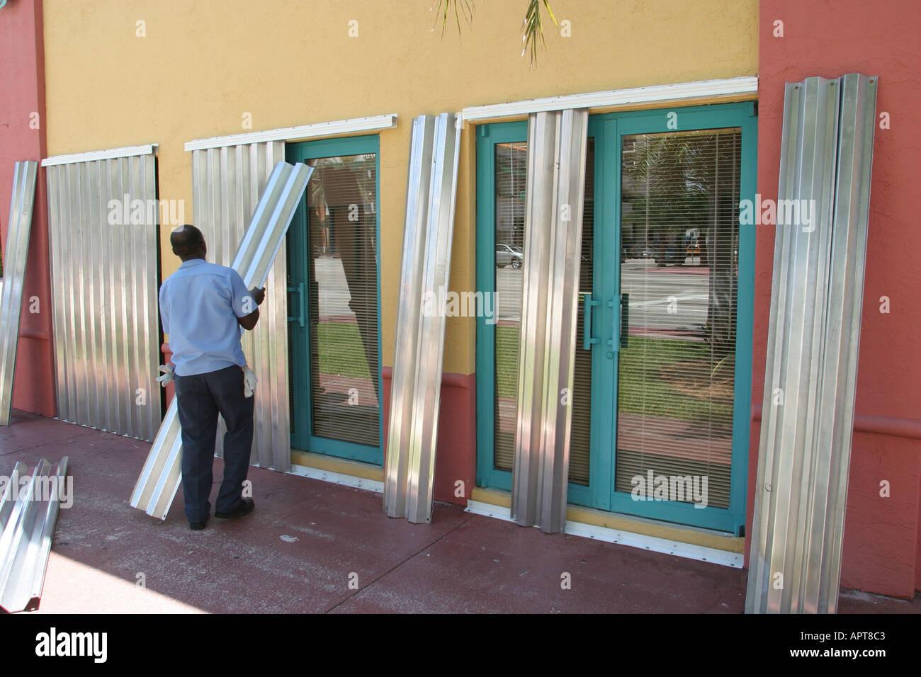Miami Beach Florida Collins Avenue Installing Hurricane