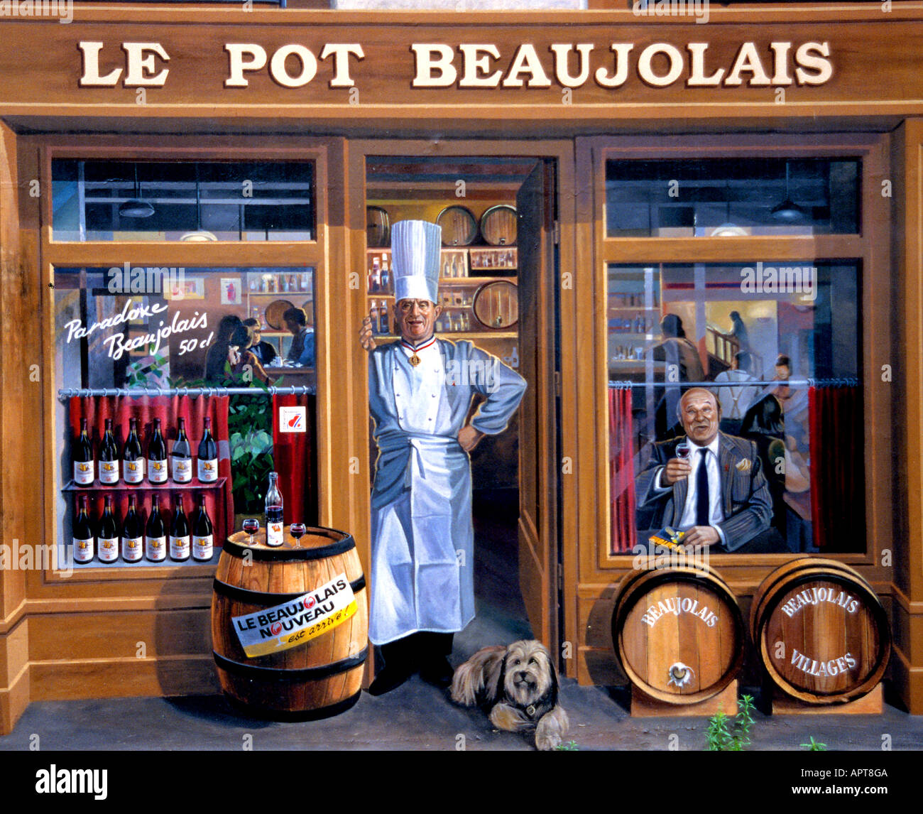 Paul Bocuse  Frederic Dard in the window French writer  Le Pot Beaujolais Lyon France trompe l'oeil painted walls Stock Photo
