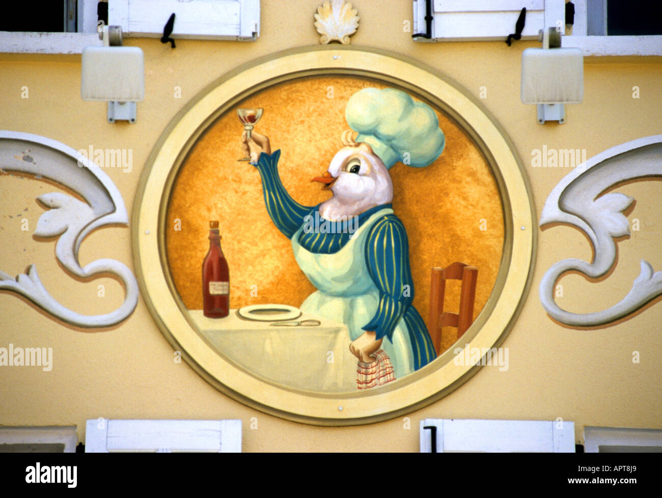 Restaurant France French Chicken sign board bistro Stock Photo ...