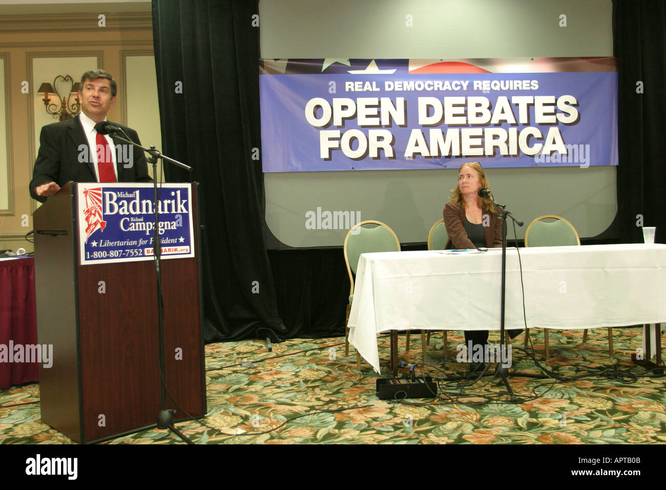 Coral Gables Miami Florida Presidential debate protesting Libertarian Party Greenpeace Party candidate debate audience Stock Photo