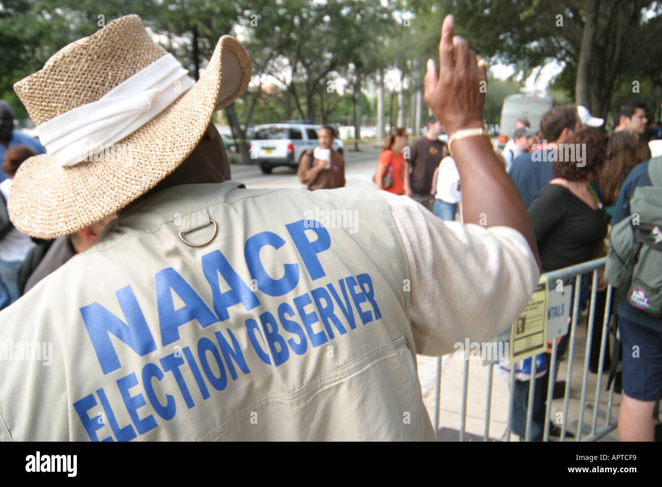 Miami Florida Democratic Party presidential election rally Black male NAACP elections observer - Stock Image