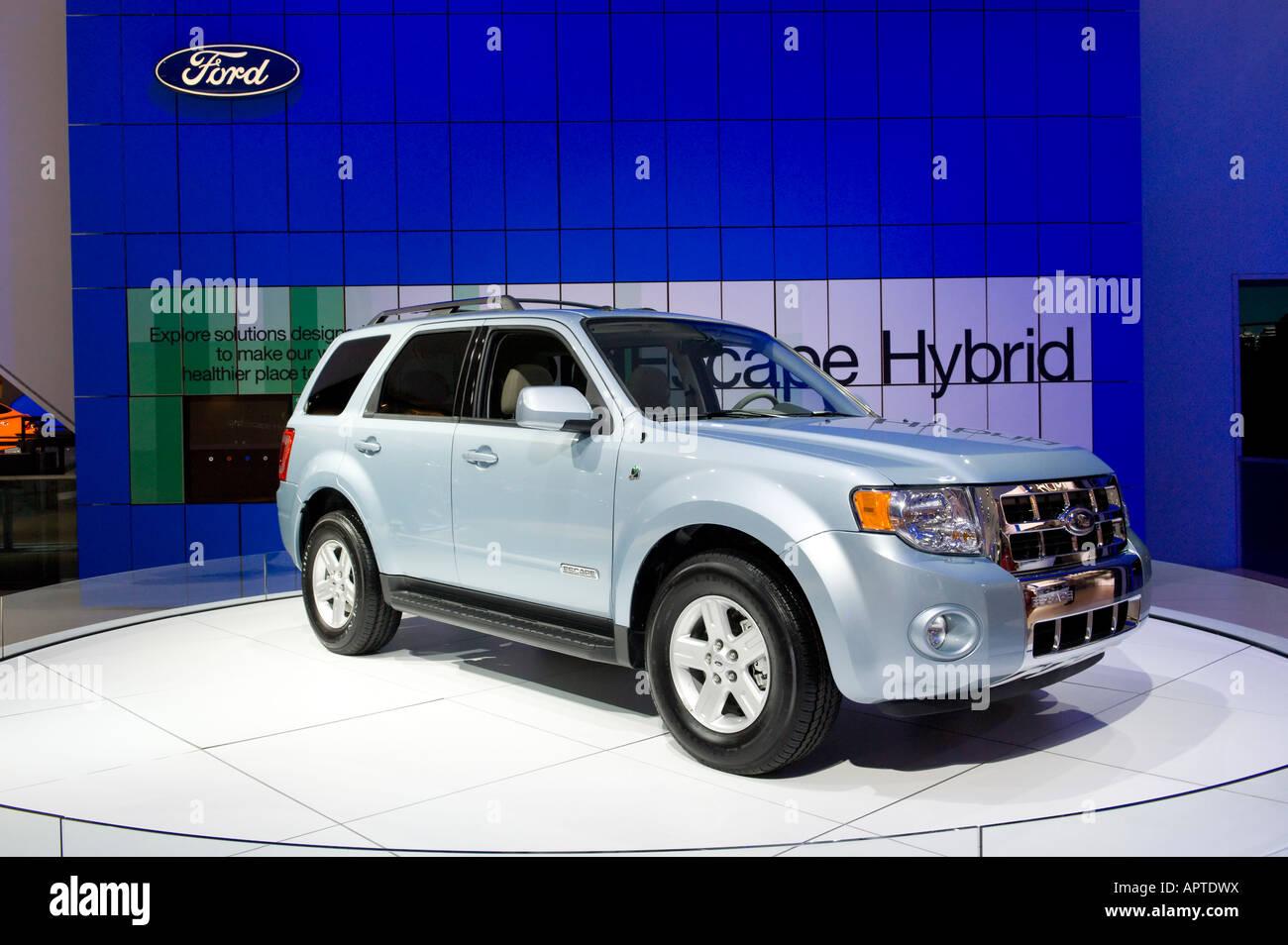 Ford escape hybrid suv at the 2008 north american international auto show in detroit michigan usa