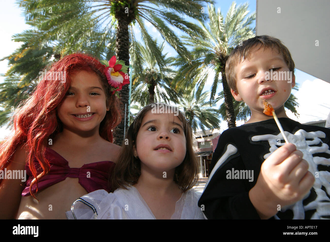 miami beach florida lincoln road hispanic children girls boy stock