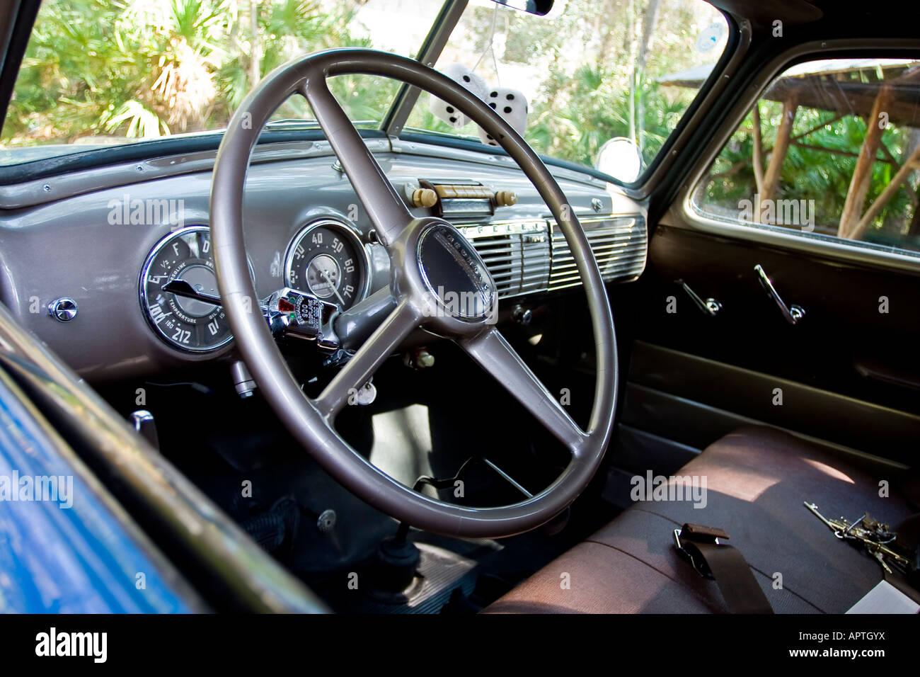 Dash And Steering Wheel Of 1950s Era Chevrolet Truck Stock Photo