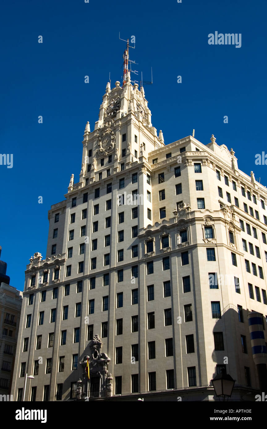 Edificio Telefónica building designed by American architect Lewis Weeks HQ of Spain s national telecommunications - Stock Image