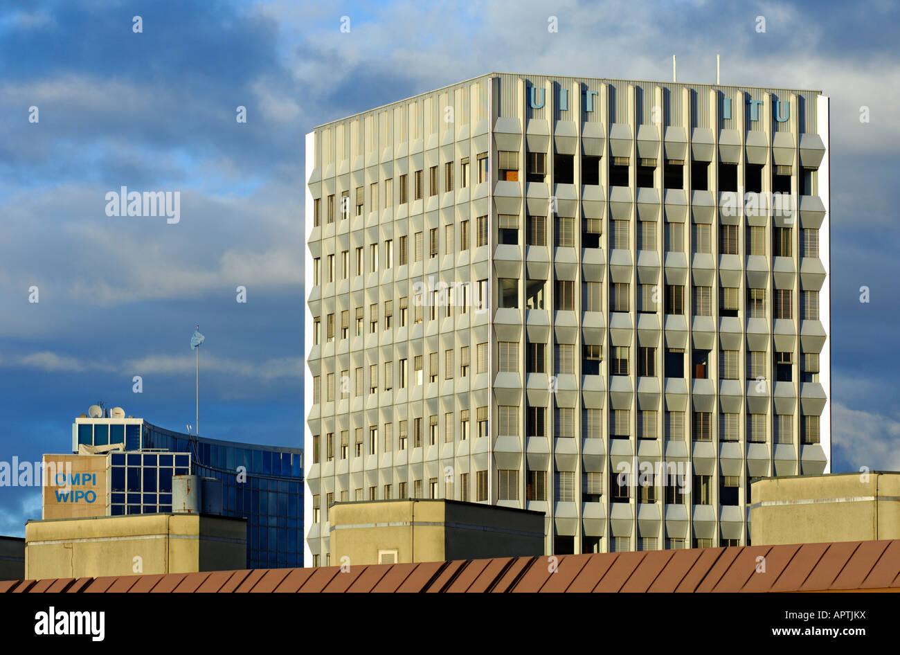 Headquarters of the International Telecommunication Union ITU Geneva Switzerland - Stock Image
