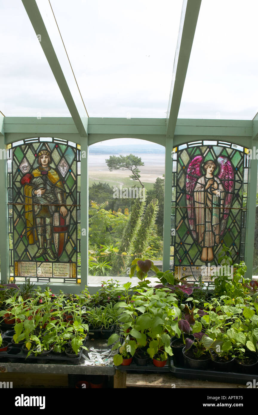 Yewbarrow House garden with exotic planting potting shed with superb views stained glass windows and tender exotic plants - Stock Image
