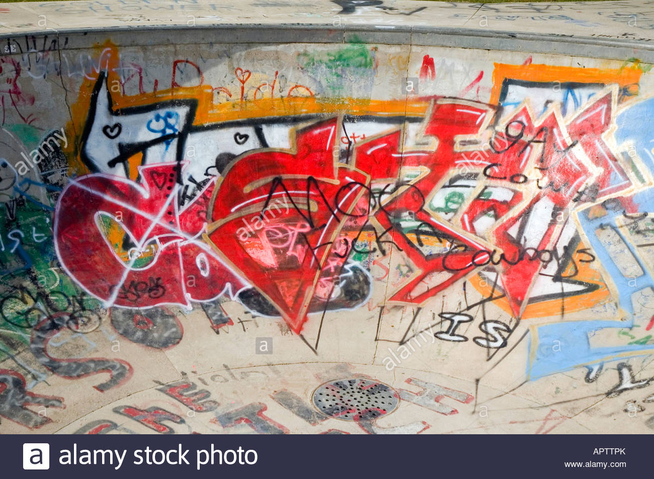 Graffiti on a skate park concrete wall stock photo 15863946 alamy graffiti on a skate park concrete wall thecheapjerseys Gallery