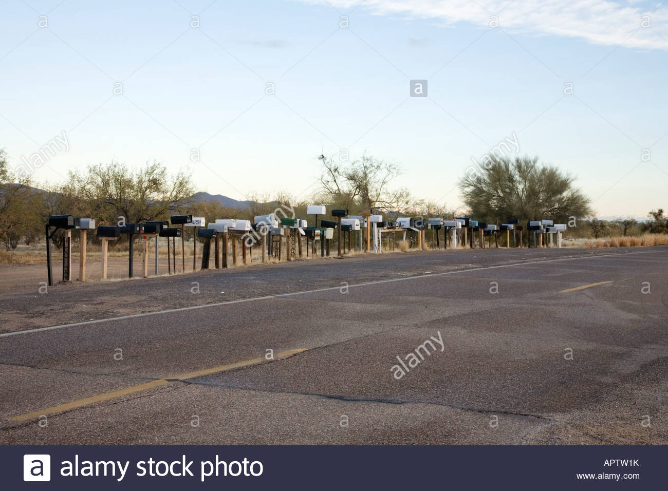 Large group of mailboxes along rural road rural mailboxes mail boxes Stock Photo
