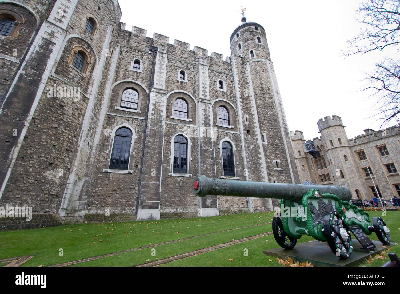 Prussian canon seized as a spoil of war on display at the Tower of London in London UK - Stock Image