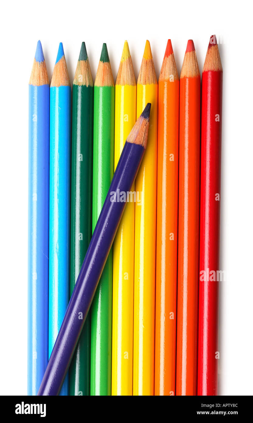 Rainbow colored pencils - Stock Image
