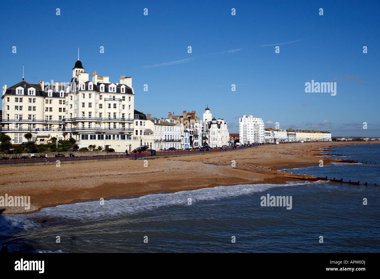 view along marine parade through to royal parade from eastbourne pier eastbourne east sussex england uk Stock Photo