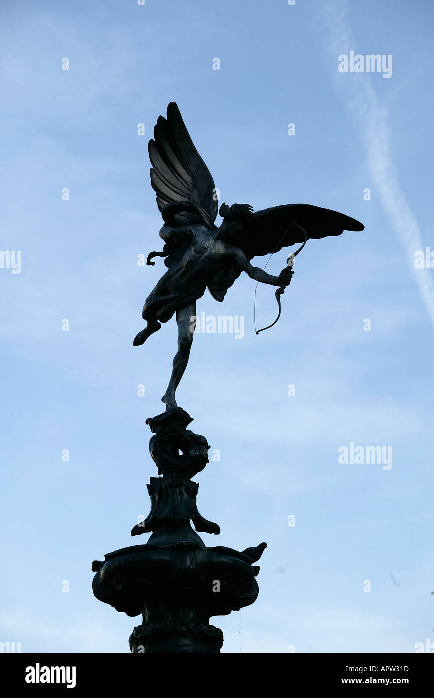 Eros The statue of Eros in Piccadilly Circus in London England UK - Stock Image