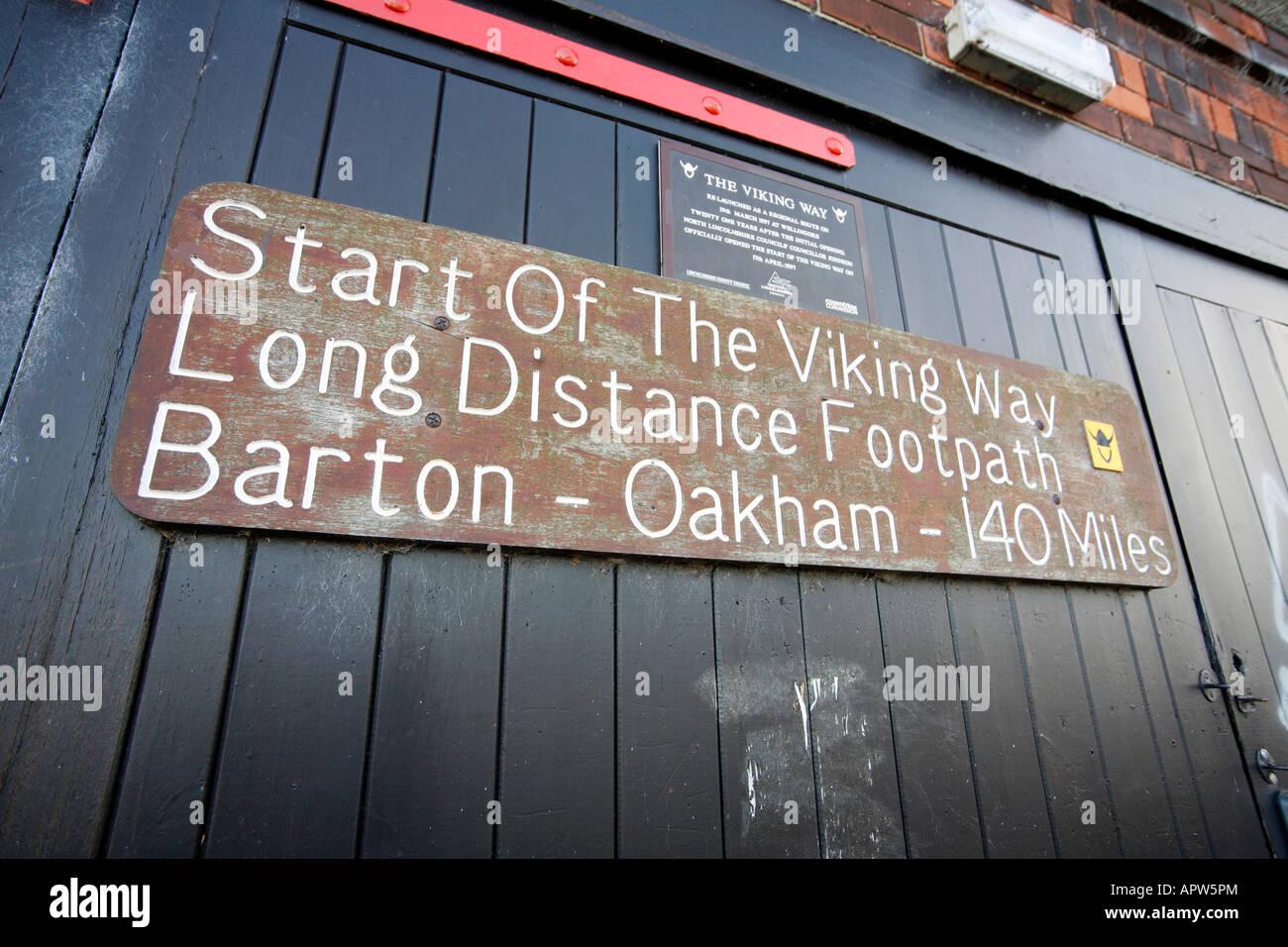 Sign indicating the start of the Viking Way, Barton upon Humber, Humberside - Stock Image