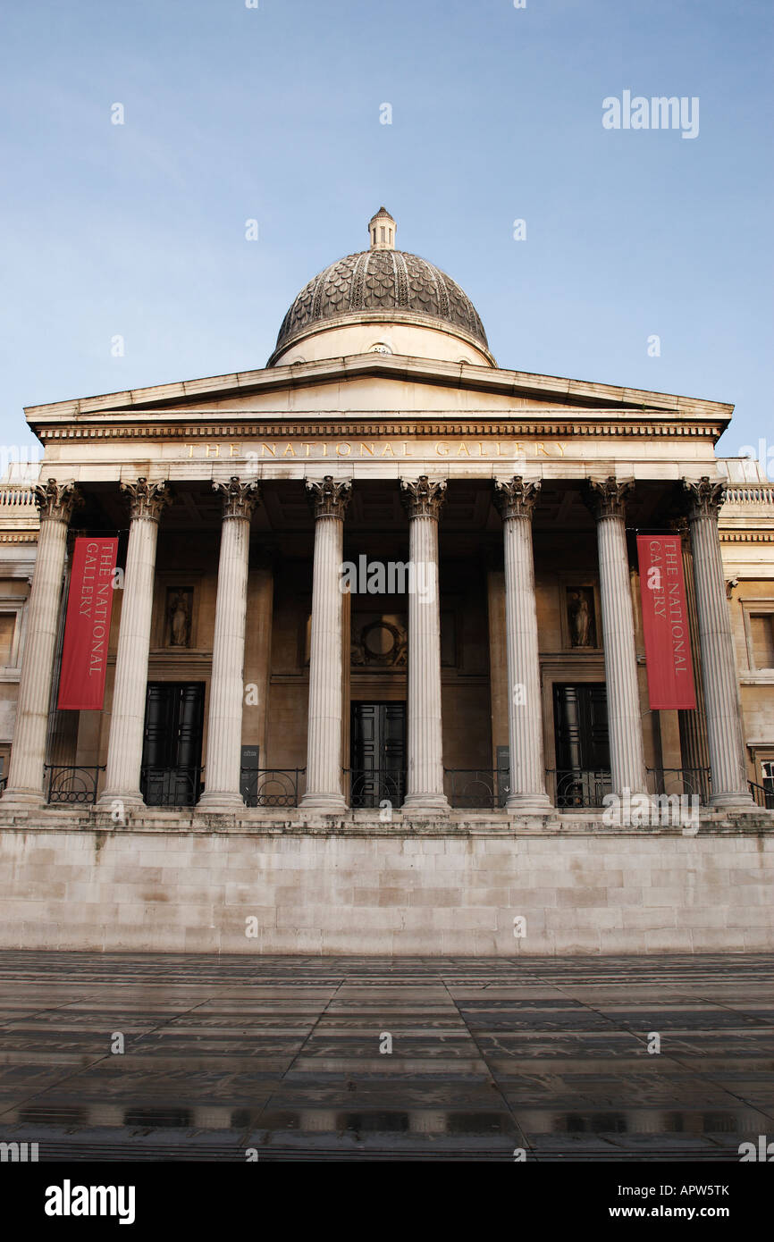 entrance to the national gallery in trafalgar square london england uk Stock Photo