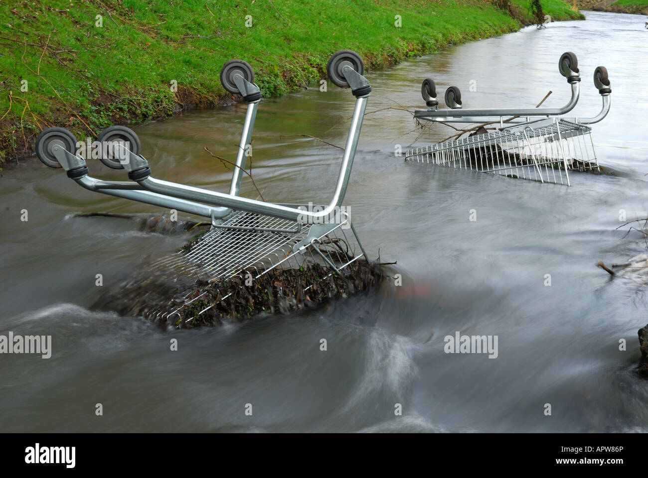 Shopping Trollies in River. - Stock Image