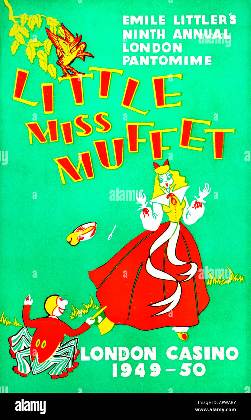 Pantomime Programme Little Miss Muffet 1949-1950 For Editorial Use Only - Stock Image