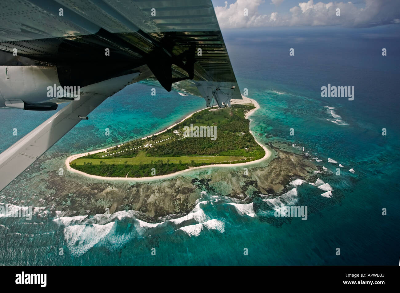 View from aircraft window Leaving Bird Island Seychelles Stock Photo