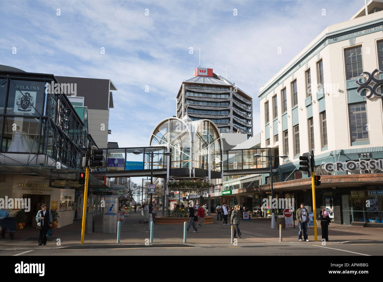 View along busy pedestrianised Cashel Street shopping precinct in city centre Christchurch New Zealand Stock Photo