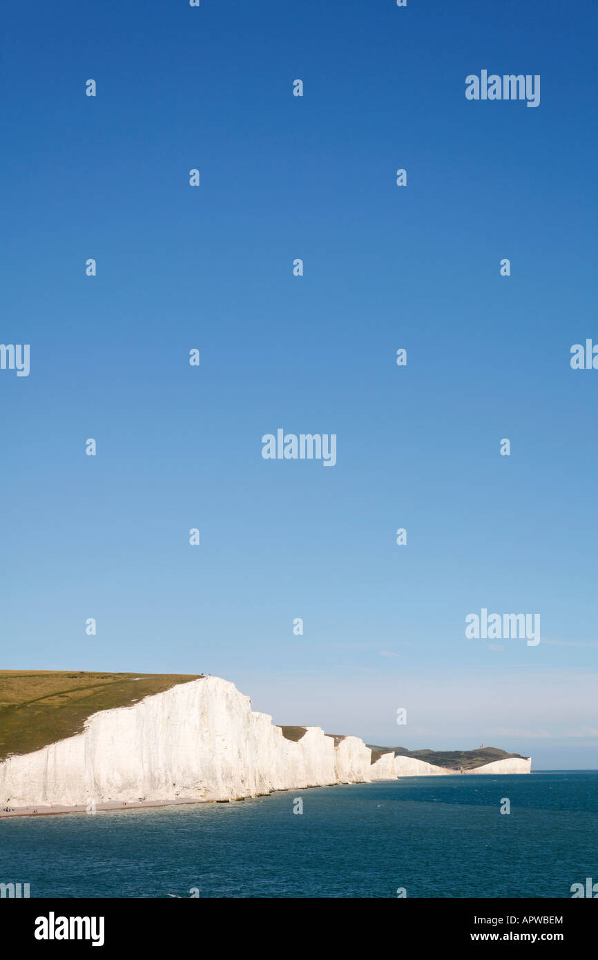 The Seven Sisters chalk cliffs East Sussex UK - Stock Image
