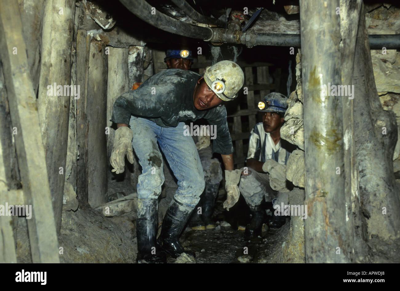 Miners at work in Cerro Rico. Potosi, Bolivia - Stock Image