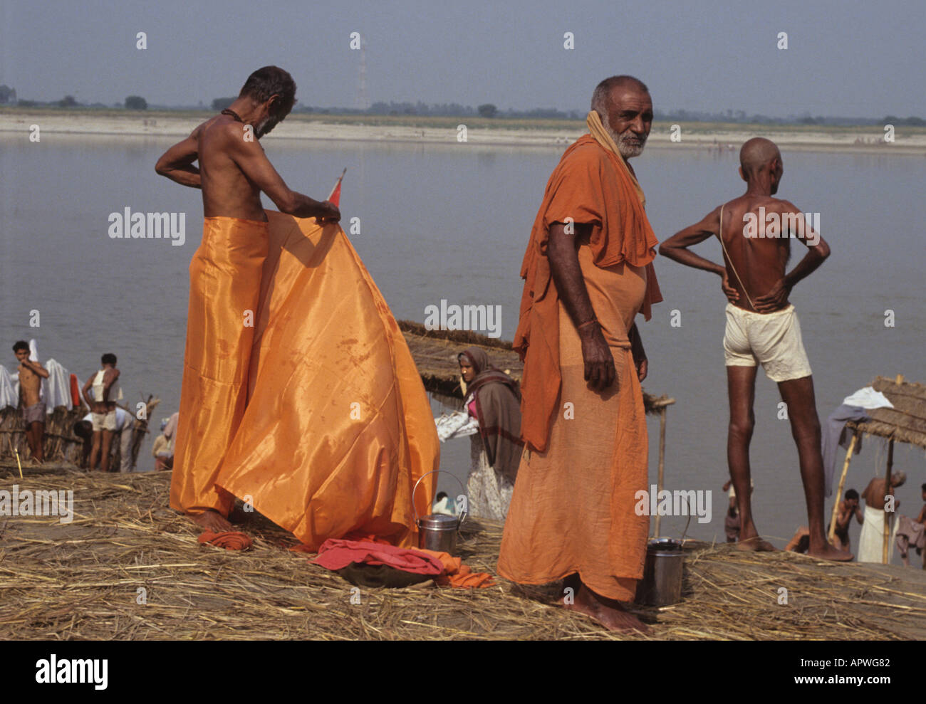 Khumb Mela in Allahabad India two sadus at river - Stock Image