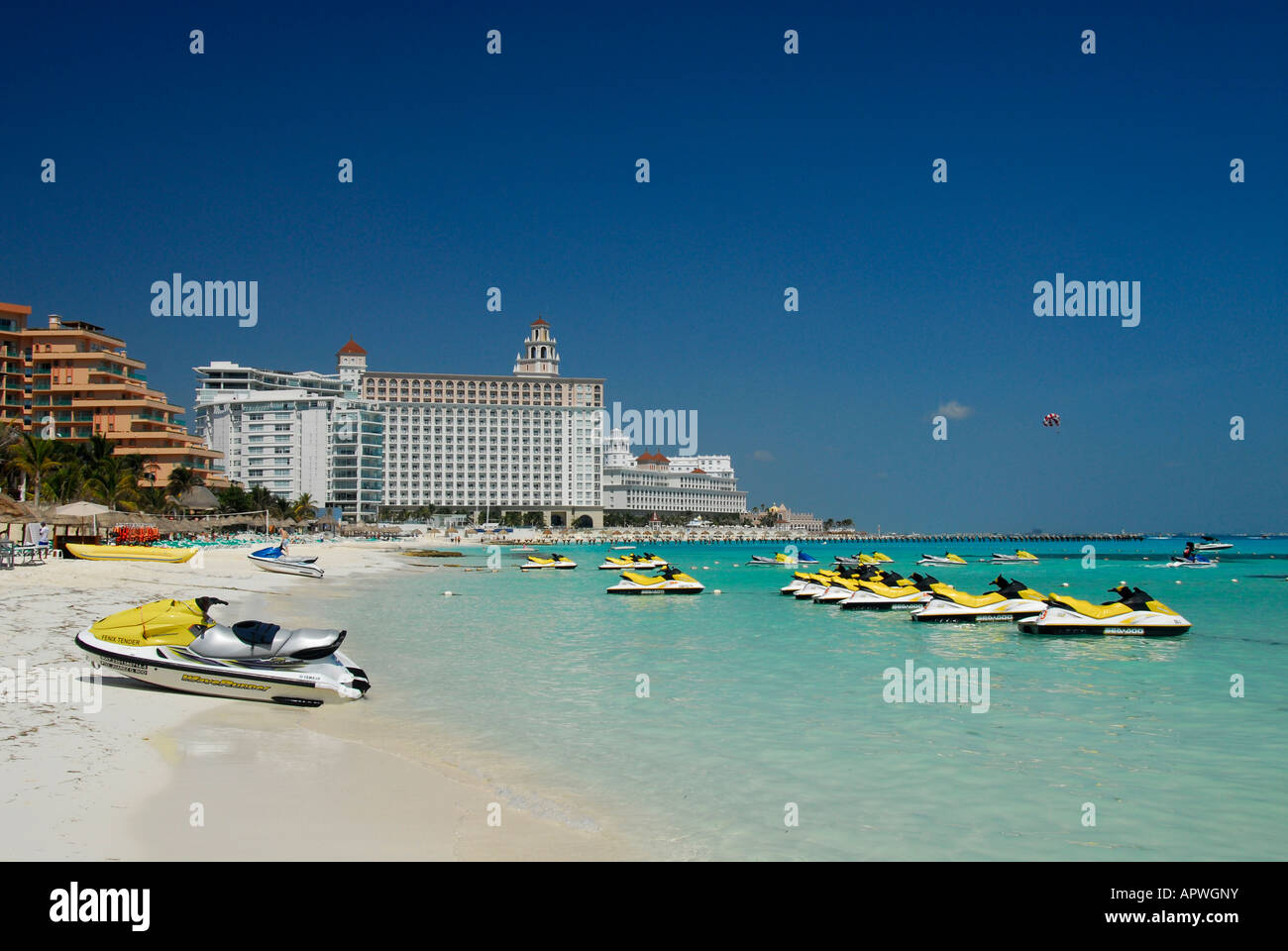 Sandy beach with jetskis in Cancun hotel and resort area, Quintana Roo State, Mexico, North America Stock Photo