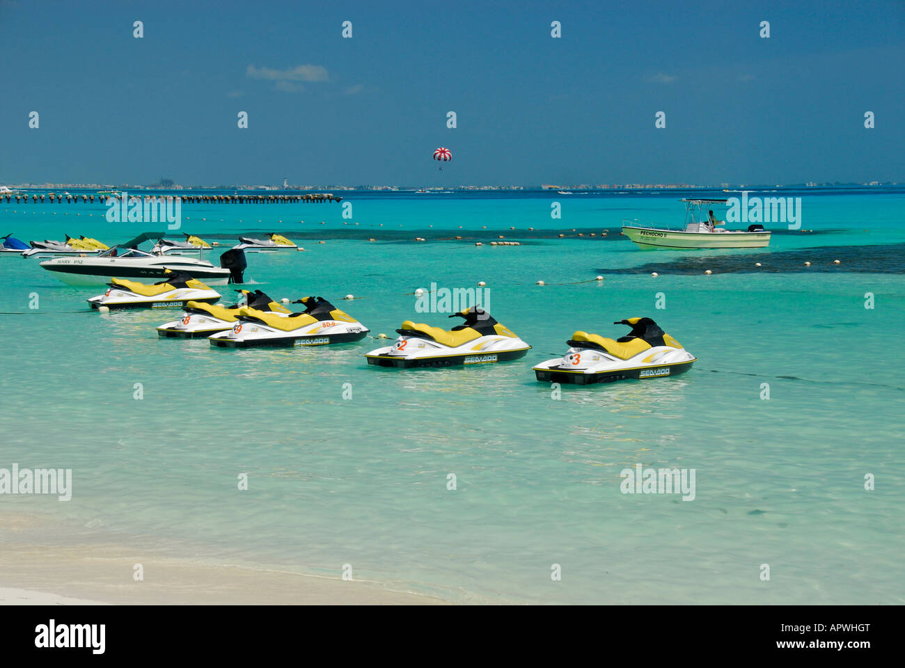 Bay with jetskis in Cancun hotel area, Quintana Roo State, Mexico, North America Stock Photo