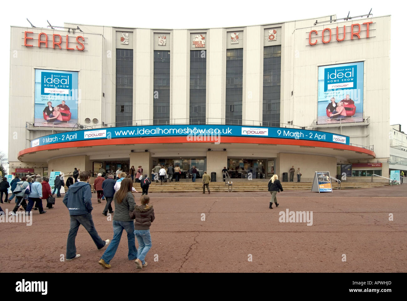 earls court exhibition centre forecourt entrance hosting the daily