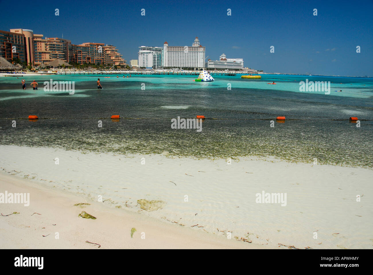 Beach in Cancun hotel area, Quintana Roo State, Mexico, North America Stock Photo