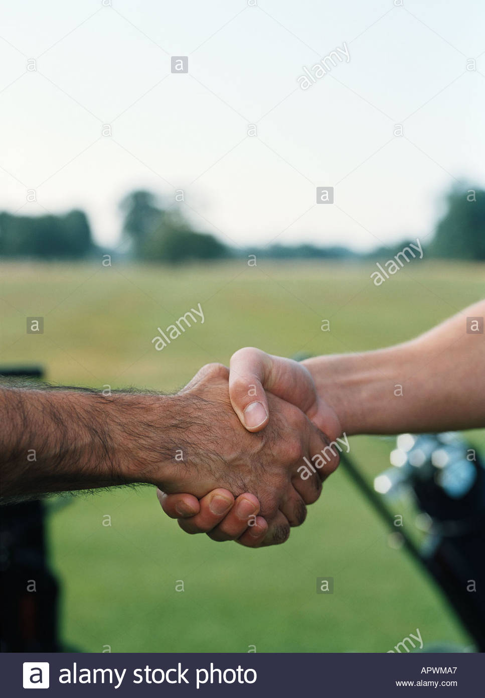 Golfers shaking hands - Stock Image