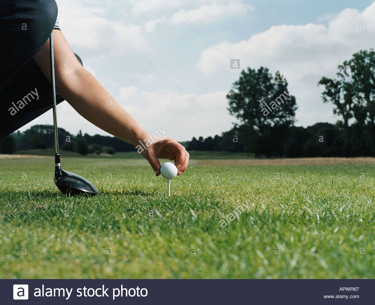 Placing a golf ball on the tee - Stock Image