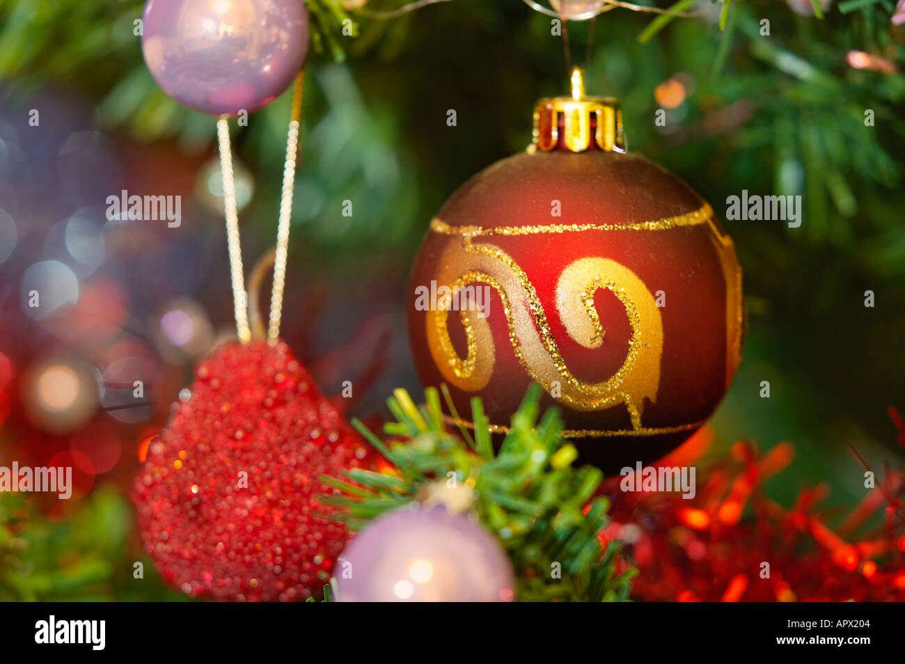Christmas tree bauble decorations - Stock Image