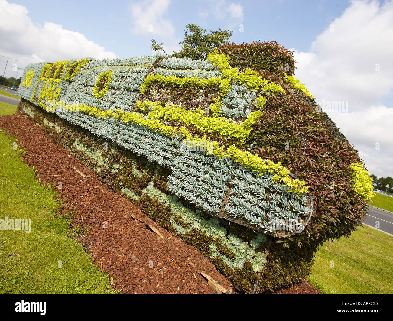 Floral topiary display Mallard train Doncaster South Yorkshire UK - Stock Image