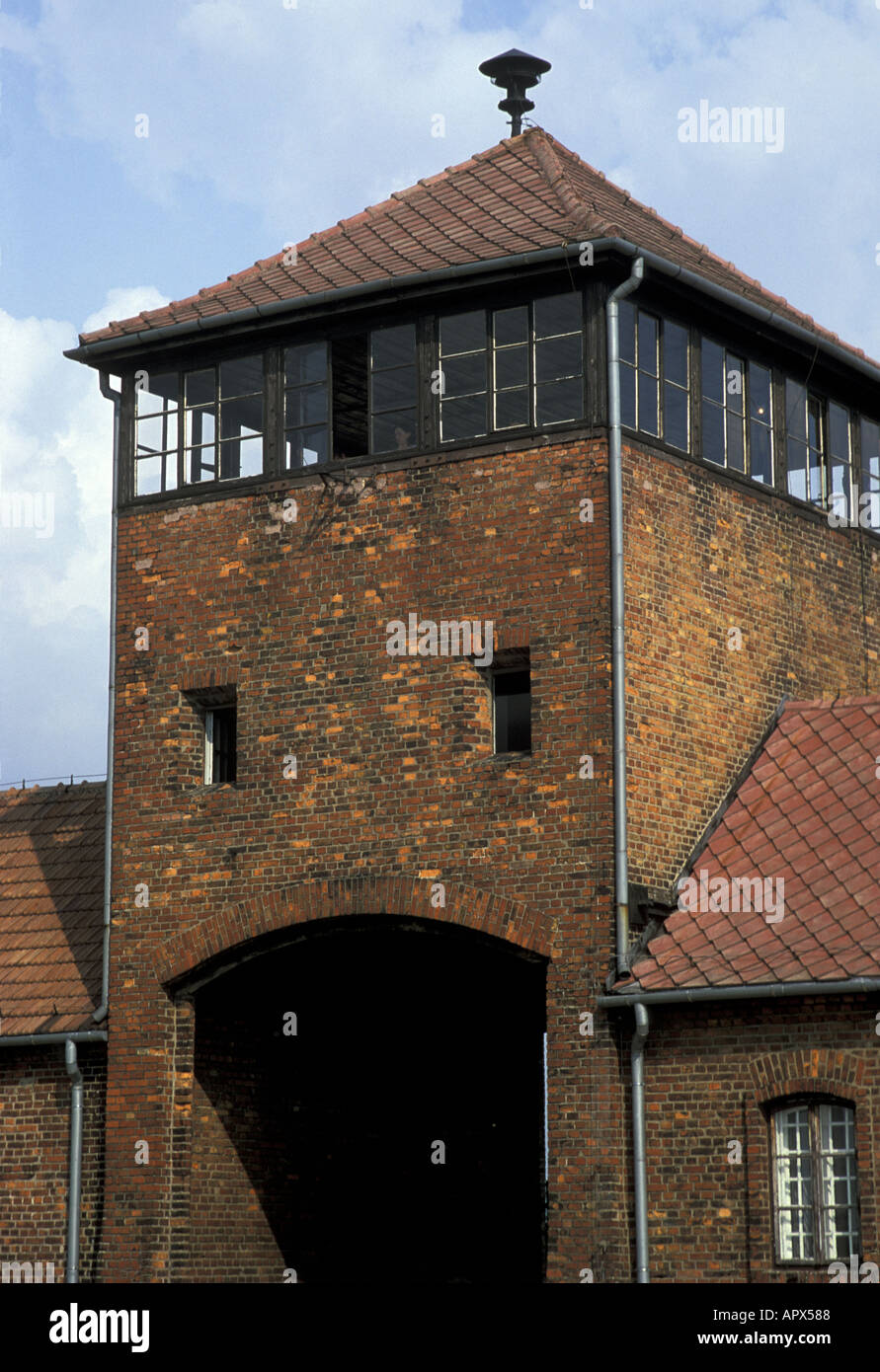Hell's Gate name given to the entrance to the notorious Auschwitz Birkenau concentration camp now a state museum Stock Photo