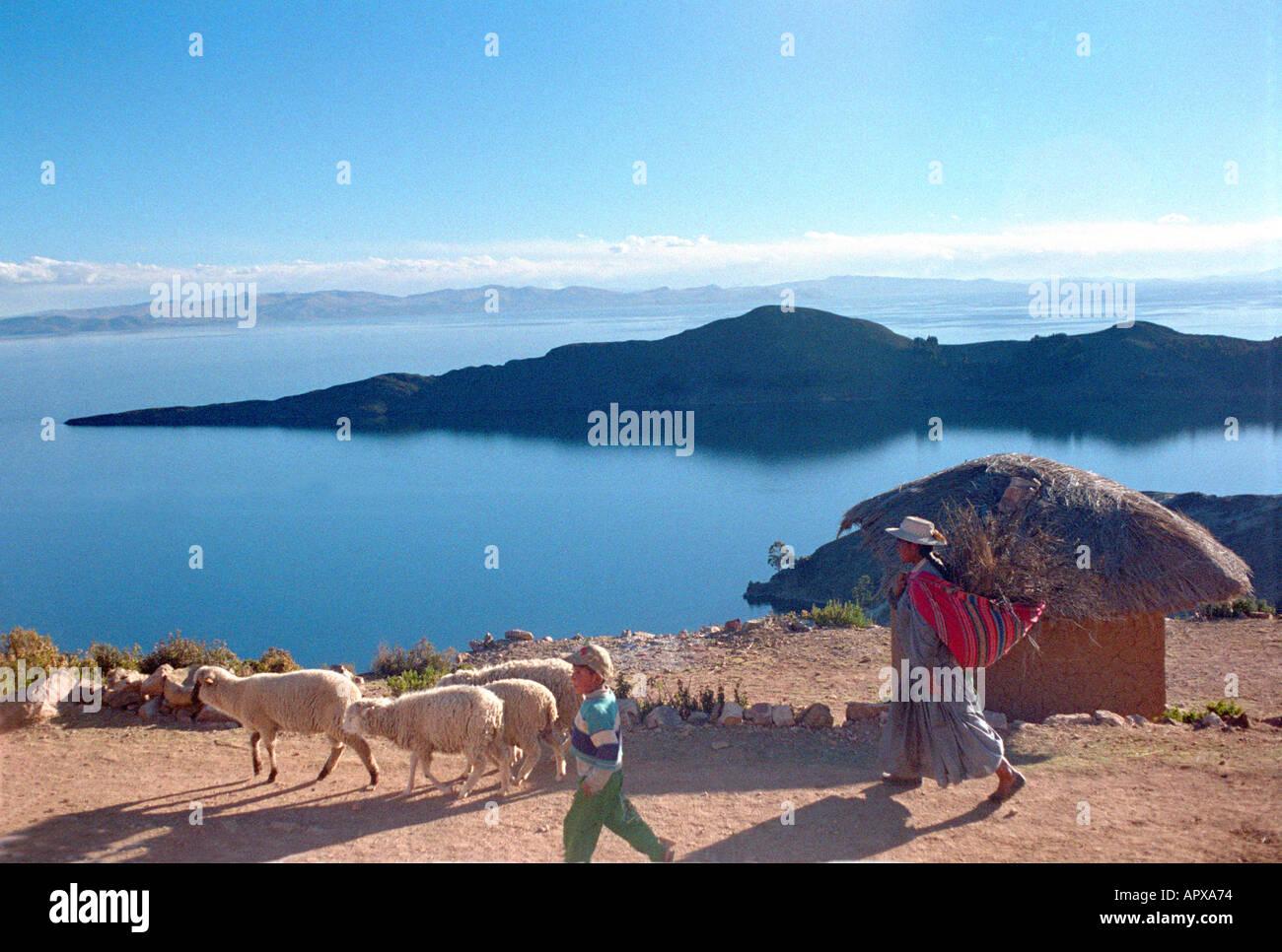 Isla del Sol Lago Lake Titicaca Bolivia - Stock Image