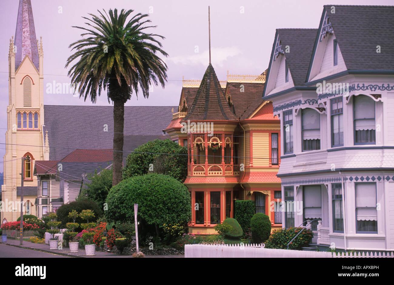 Victorian Houses On Berding Street In Ferndale California
