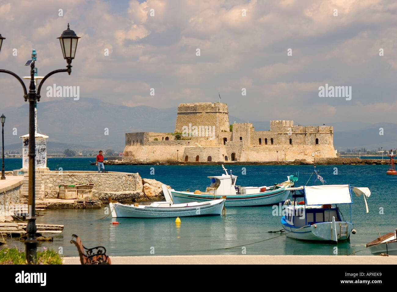 Bourtzi castle in the middle of the harbour of Nafplio, venetian castle, Nafplio, Peloponnese, Greece Stock Photo