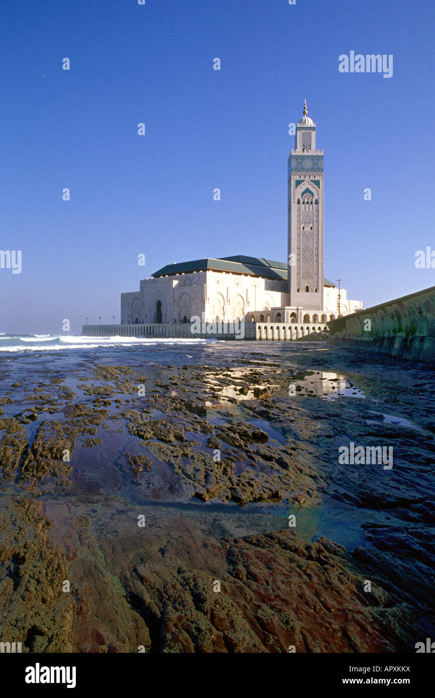 Hassan II mosque photographed from the sea - Stock Image