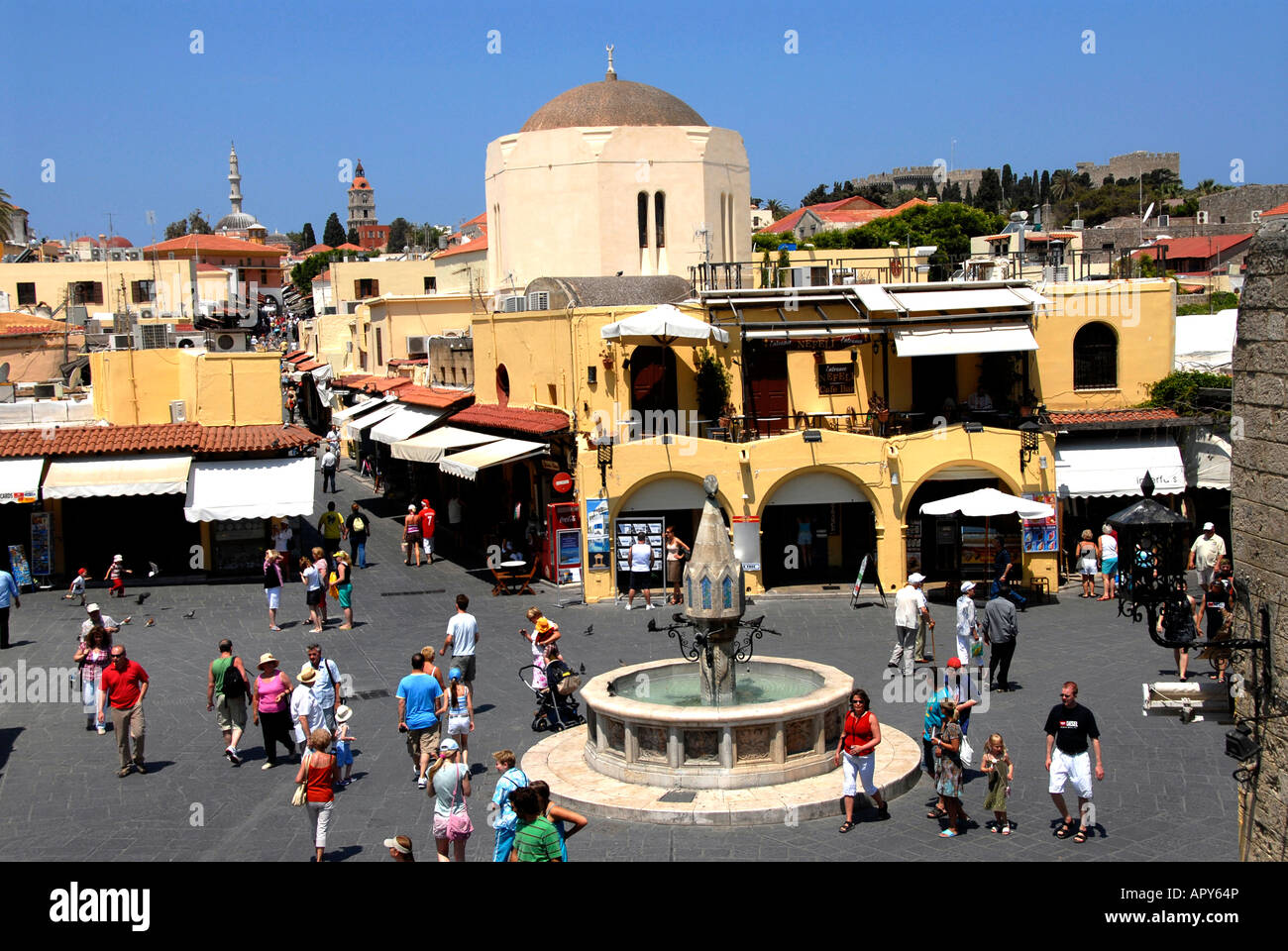 Square, old town, Rhodos, Greece - Stock Image