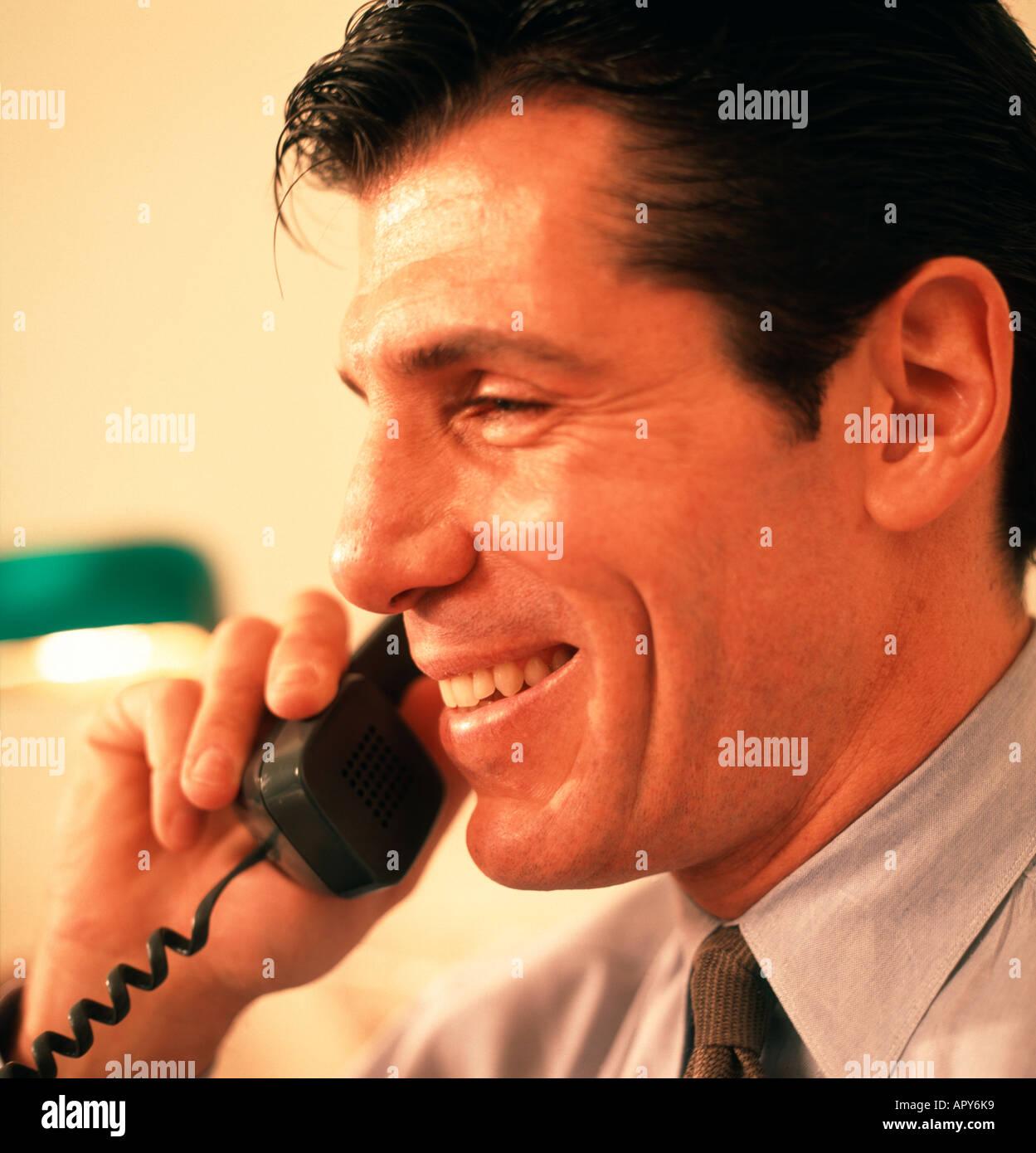 Businessman talking on the telephone Stock Photo