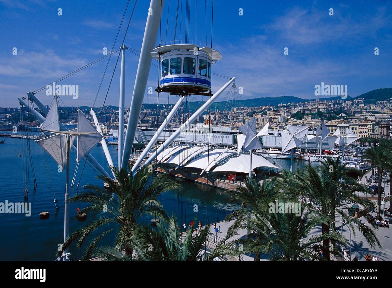 Porto Antico with Biga Arch. Renzo Piano, Genoa, Liguria Italy - Stock Image