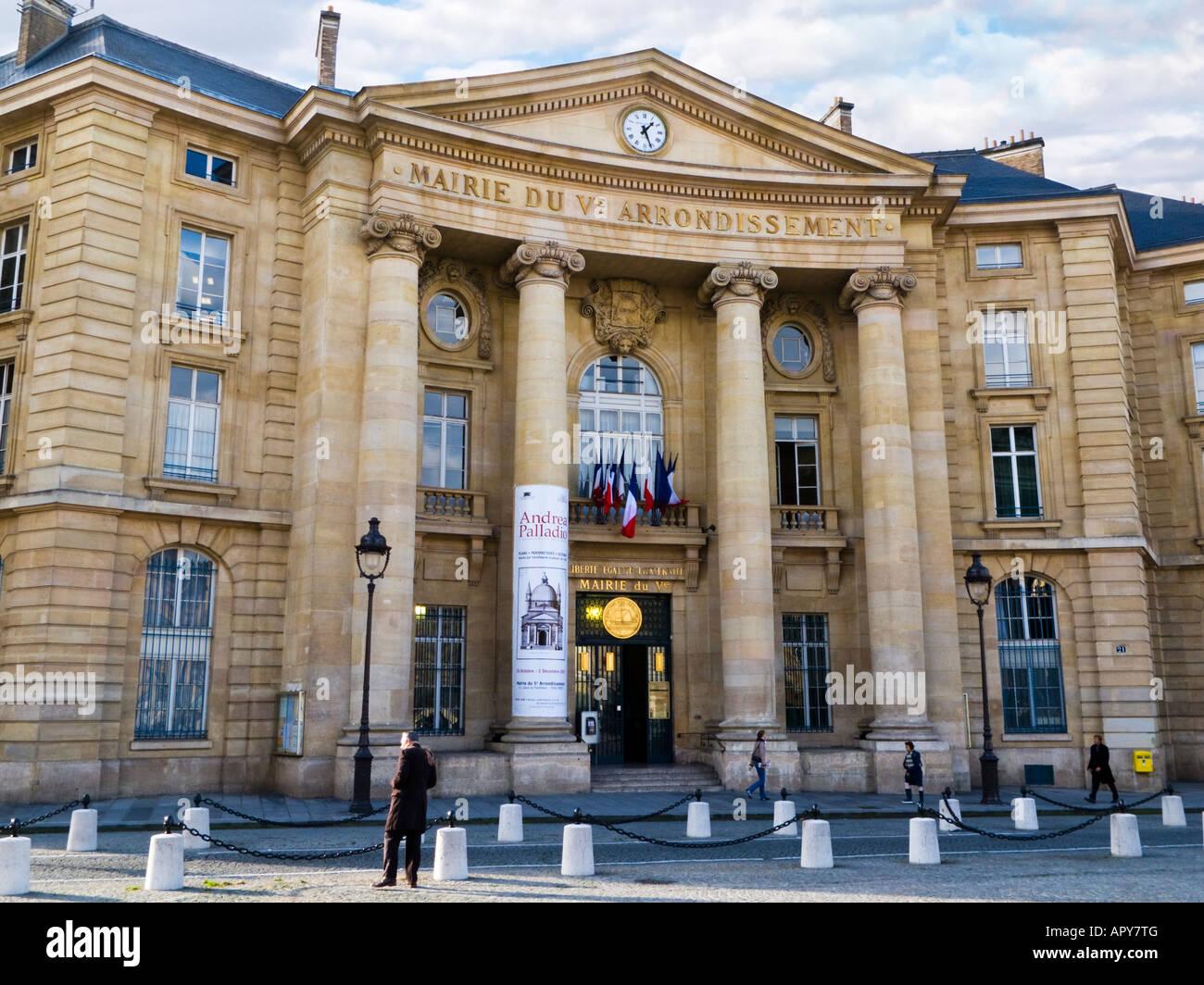 Mairie du 5th Arrondissement building Paris France Europe - Stock Image