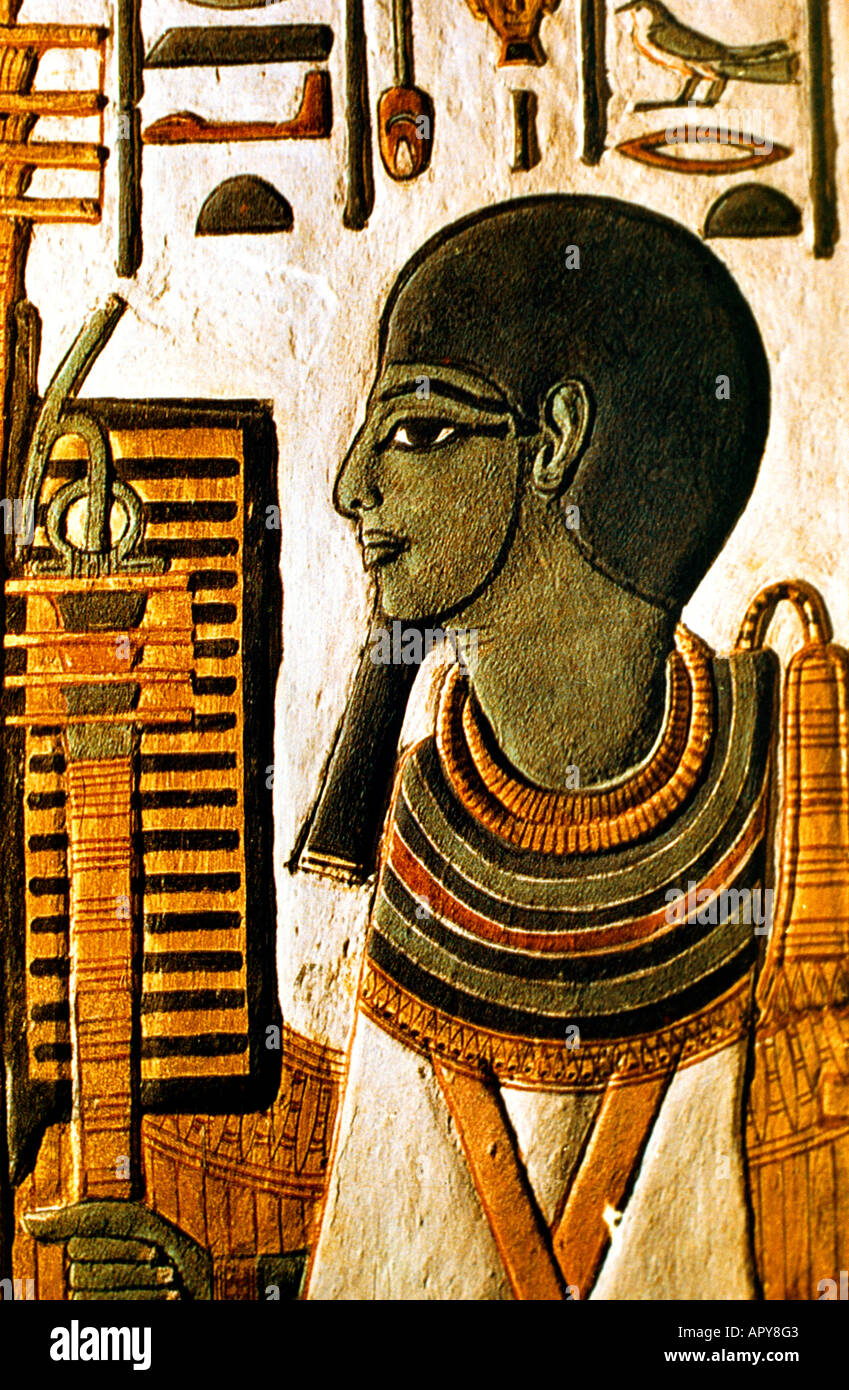 Luxor Egypt Painting of Ptah the Creator in Tomb of Nefertari - Stock Image