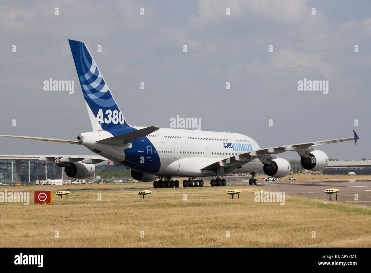 Airbus A380 superjumbo new technology advanced biggest passenger commercial plane in the world blue sky - Stock Image