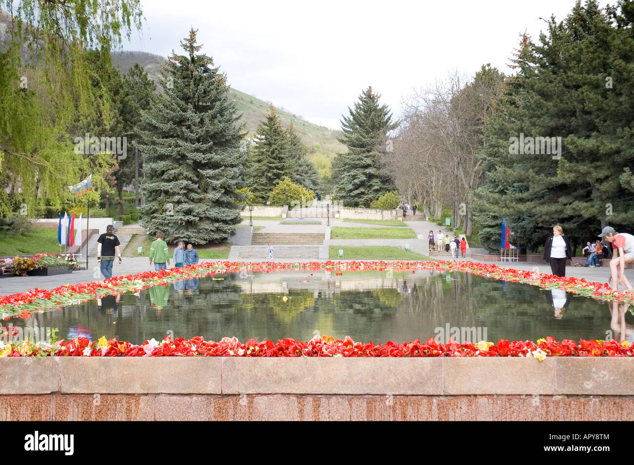 Floral tribute on Russia Day in Pyatigorsk Russia - Stock Image
