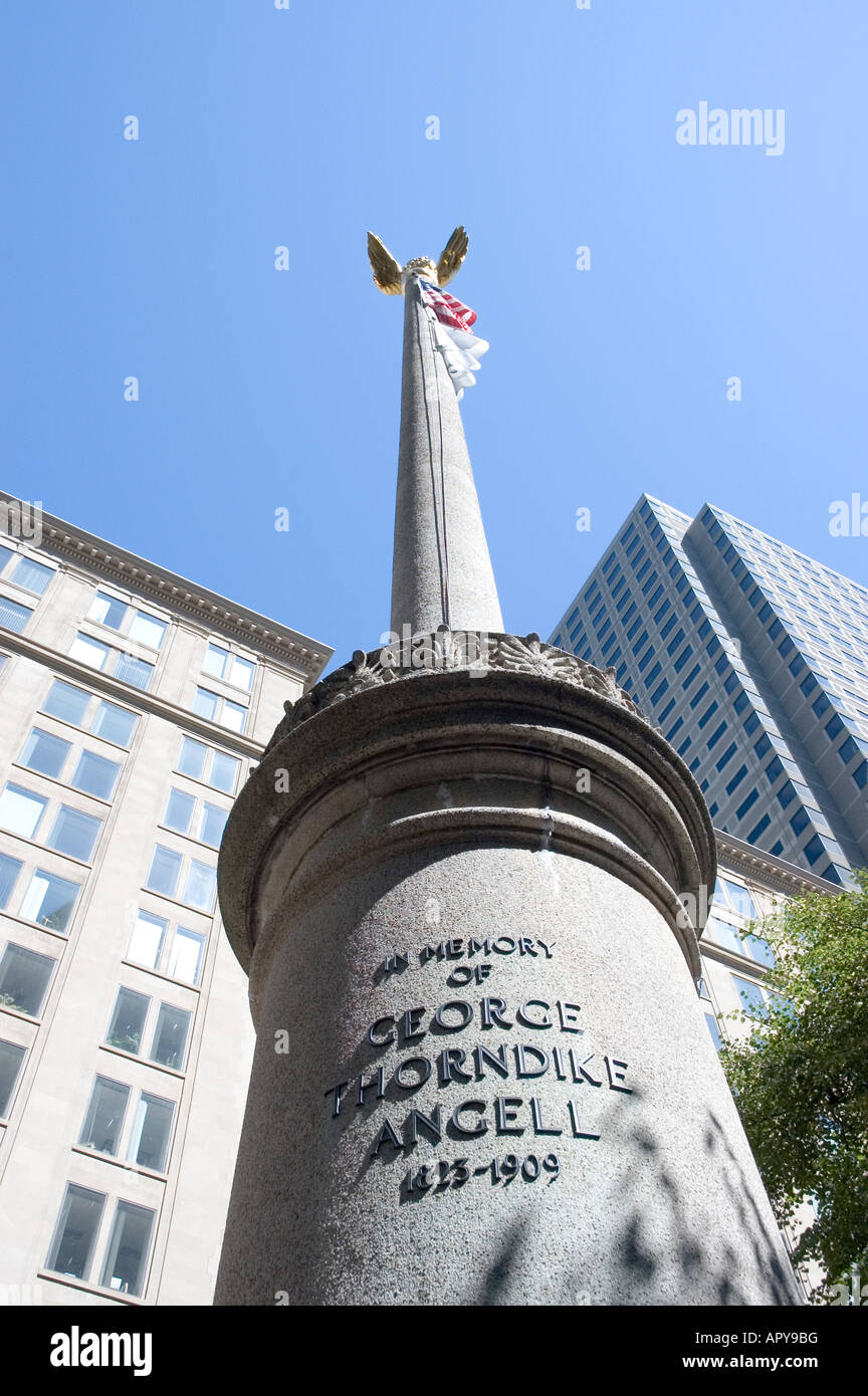 monument in memory of george thorndike angell 1825-1909 in Post Office Square boston massachusetts - Stock Image
