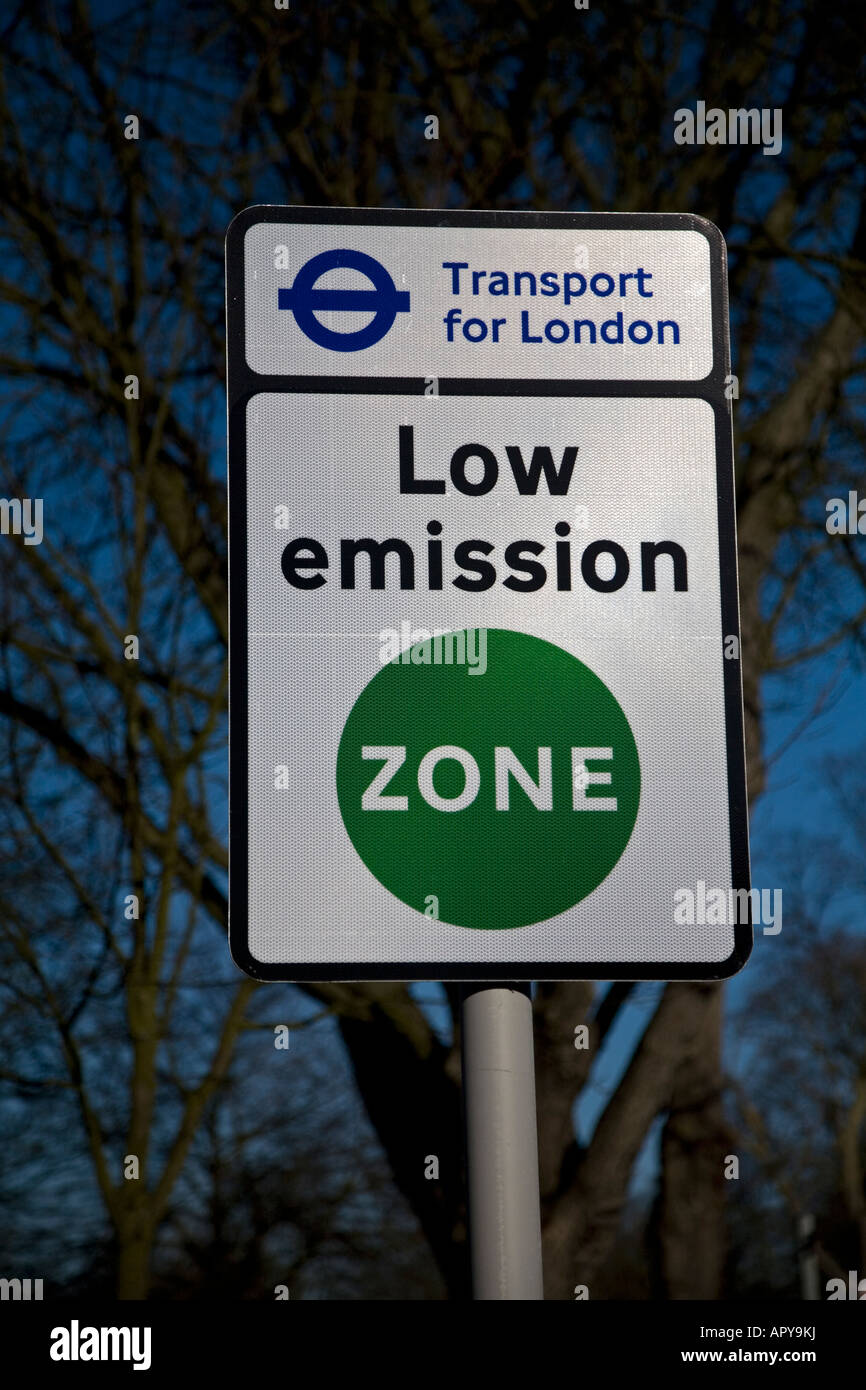 Transport for London Low Emission Zone Sign Belmont London England - Stock Image