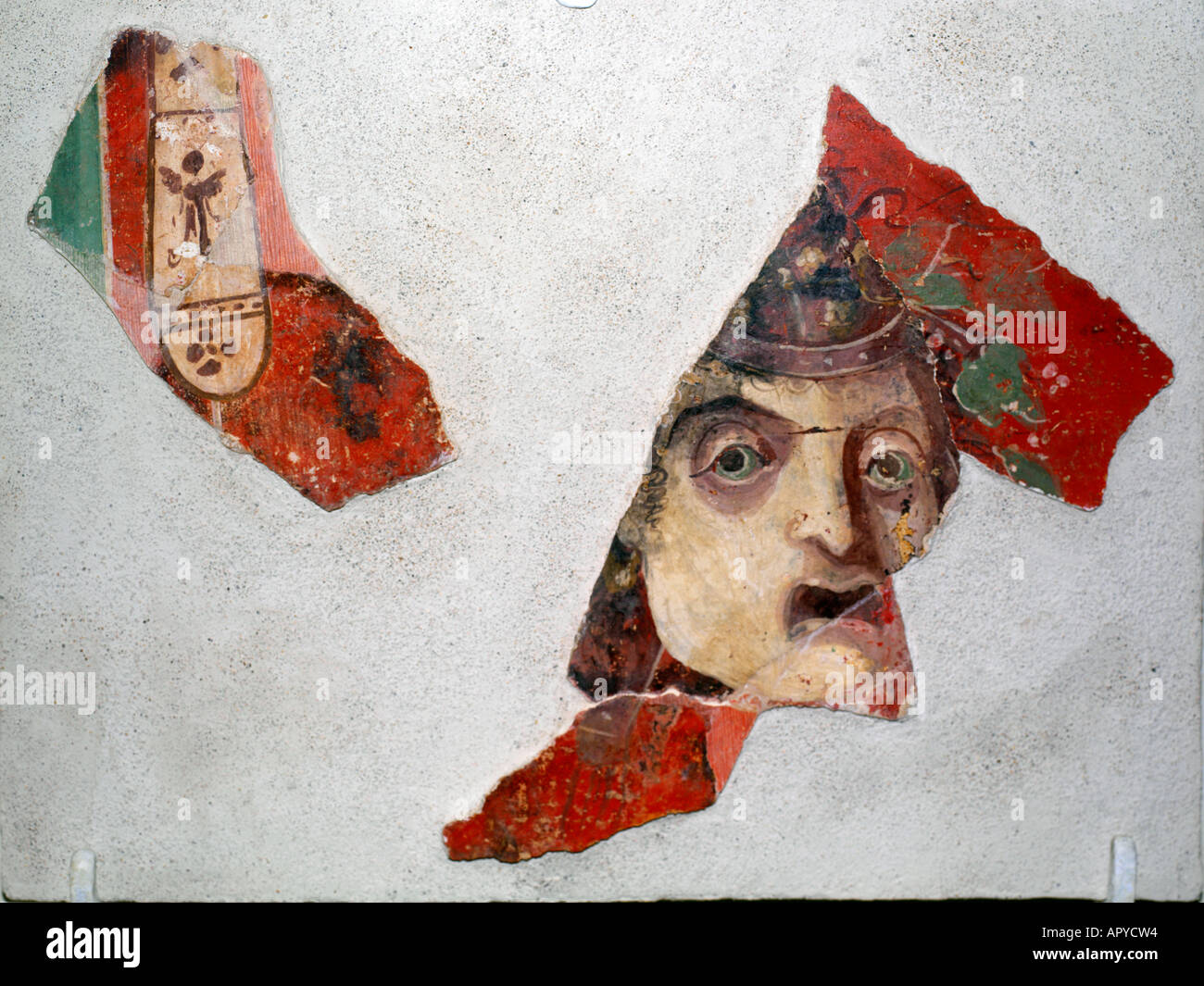 Solunta Sicily Italy Fragments of Painted Face Pitture Parietali Second Century - Stock Image