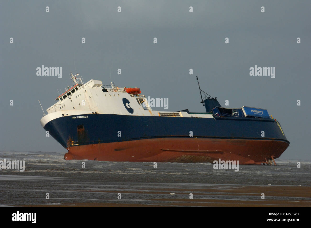 The Ro-Ro Ferry 'Riverdance' stricken and beached at Cleveleys near Blackpool - Stock Image